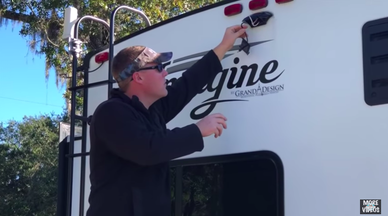 RV backup camera install on travel trailer